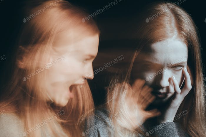 Woman having hallucinations