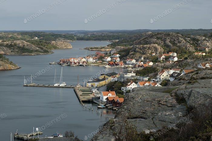 View over the village Fjallbacka, Bohuslan, Sweden