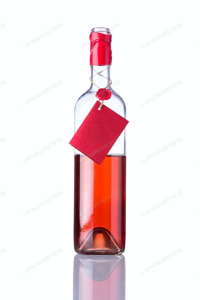 Opened Bottle Rose Wine on White Background
