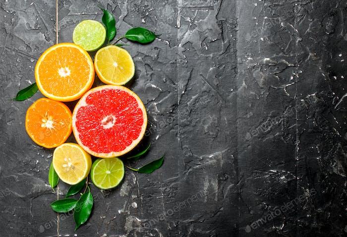 Citrus mit Blättern.