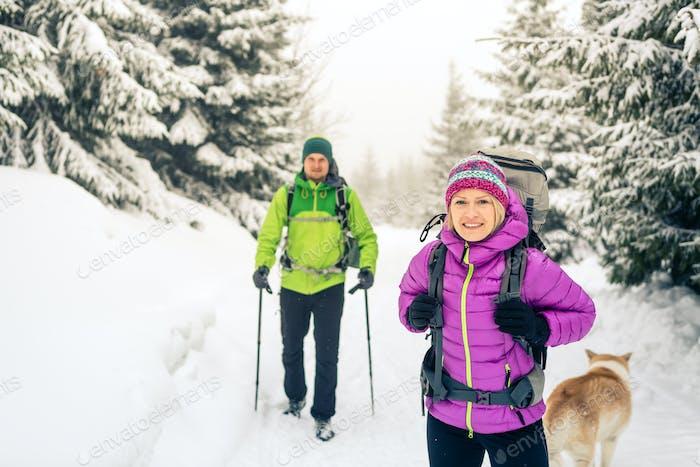 Couple hikers trekking in winter woods
