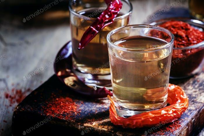 Traditional Ukrainian vodka with pepper gorilka