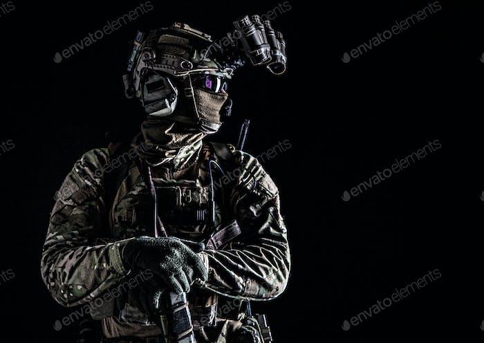 Marine rider with night vision goggles portrait