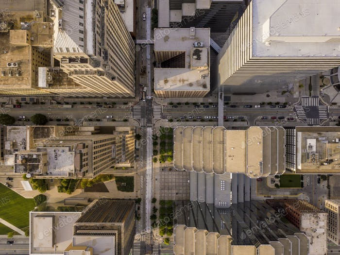 Aerial straight down view of skyscapers and cityscape in Oklahom