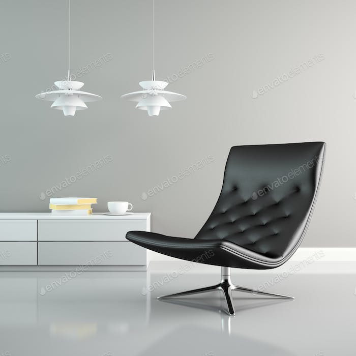 Part of  interior with white lamps and black armchair 3D renderi