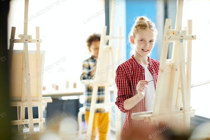 Girl in studio of arts