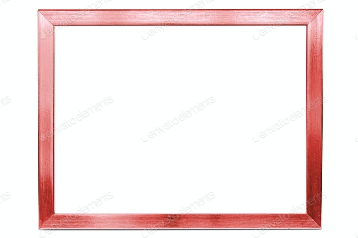 Red aluminum empty photo frame on white background