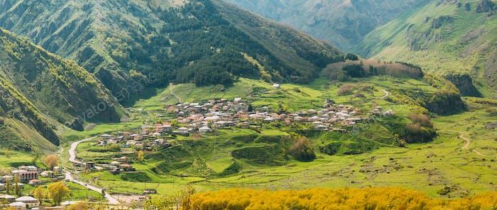 Stepantsminda Village In Kazbegi District, Mtskheta-Mtianeti Reg
