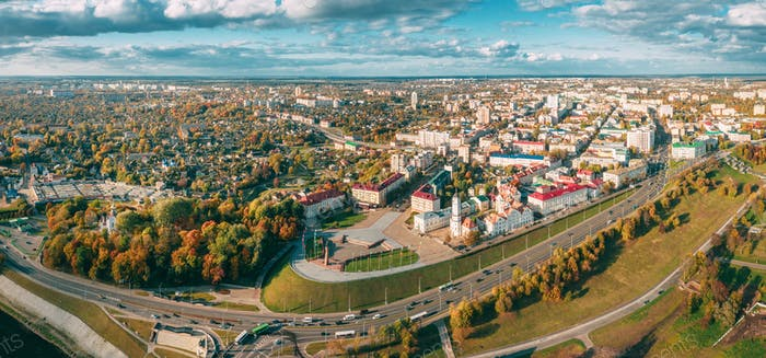 Mahiliou, Belarus. Mogilev Cityscape With Famous Landmark - 17th-century Town Hall. Aerial View Of