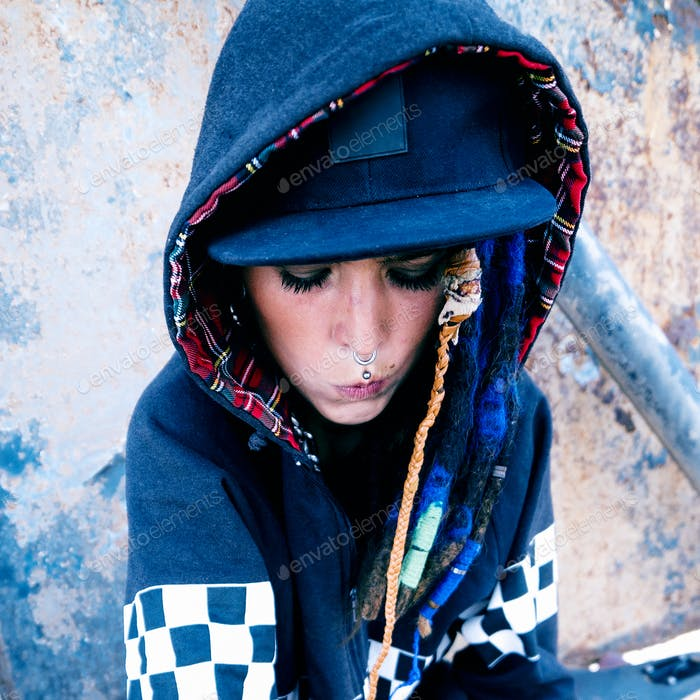 Young model rap hip hop style. Urban Street Fashion
