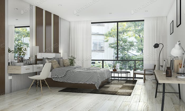 3d rendering beautiful bedroom with nice decoration near terrace