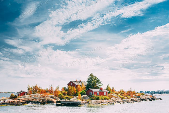 Suomi Or Finland. Beautiful Red Finnish Wooden Log Cabin House O