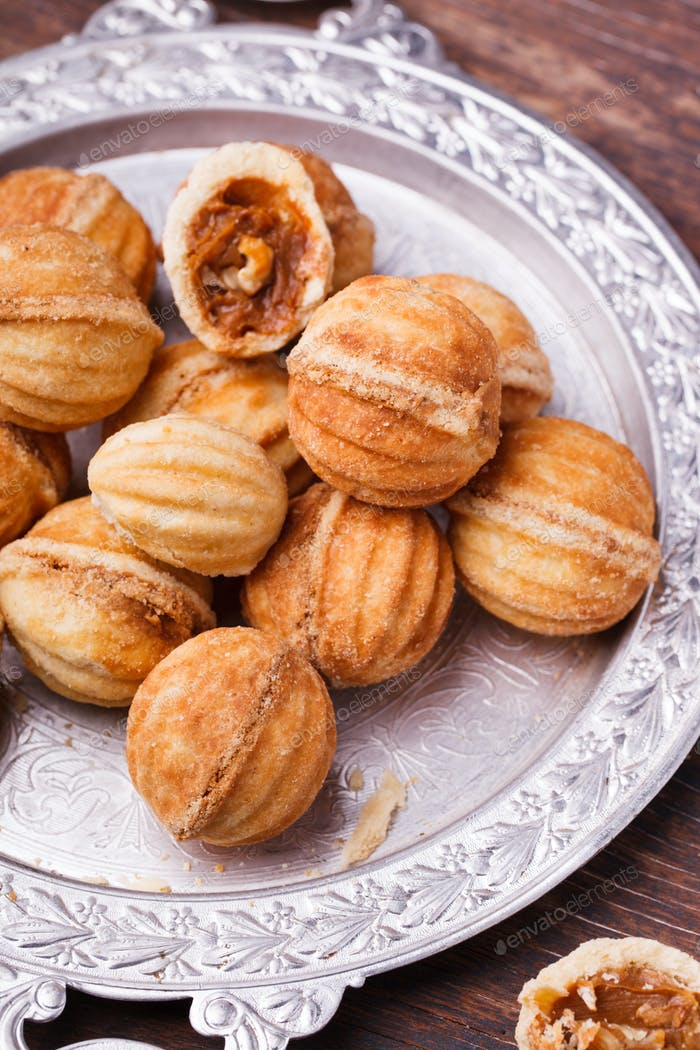 Cookies nuts with condensed milk.