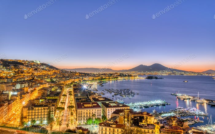 Naples in Italy with Mount Vesuvius