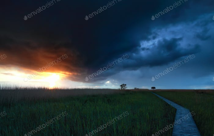 stormy sky over wooden path at sunset