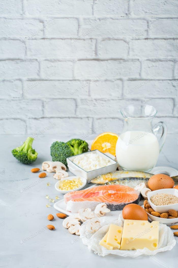 Assortment of healthy vitamin d and calcium source food