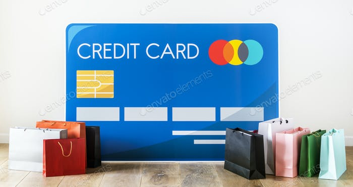 Credit card icon with shopping bags