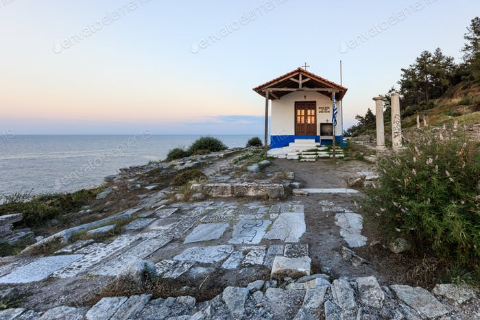 church in head of Evreokastro. Thassos, Greece