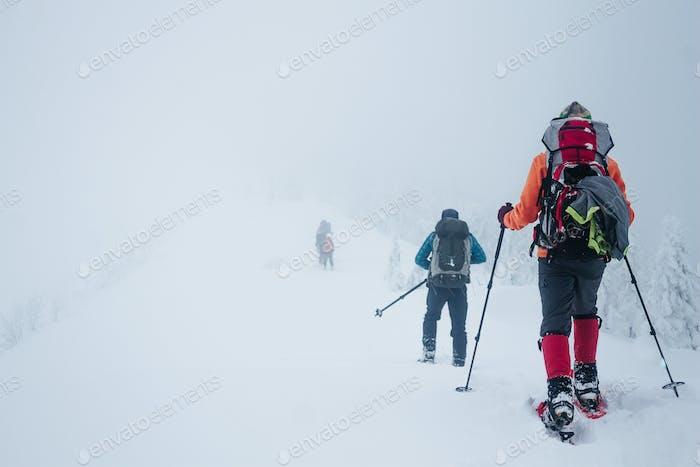 Las personas con mochilas en invierno montañas Gorgany