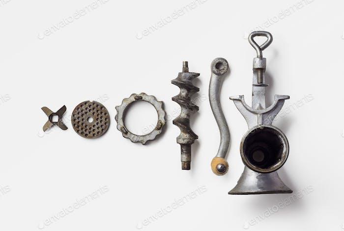 Metal meat grinder