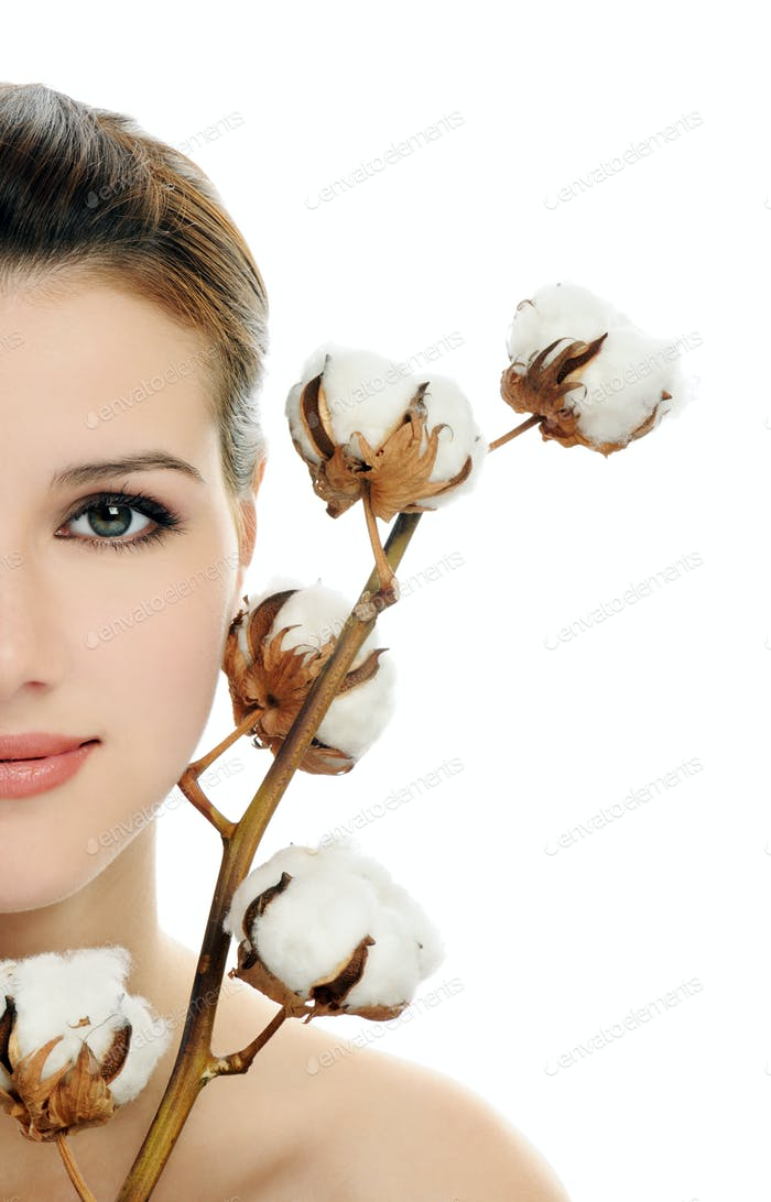 Beautiful woman with cotton