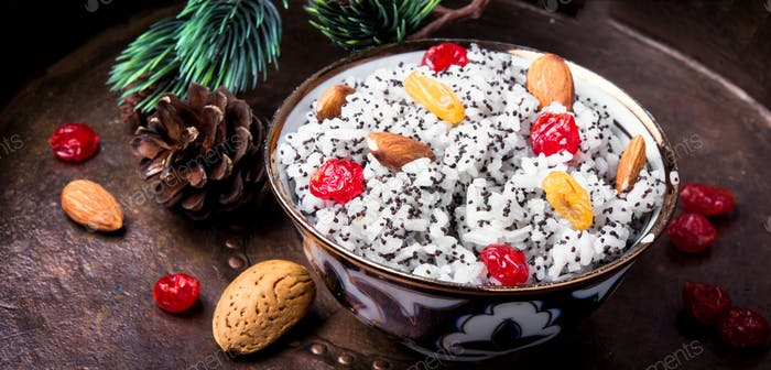 holiday rice porridge with nuts and raisins