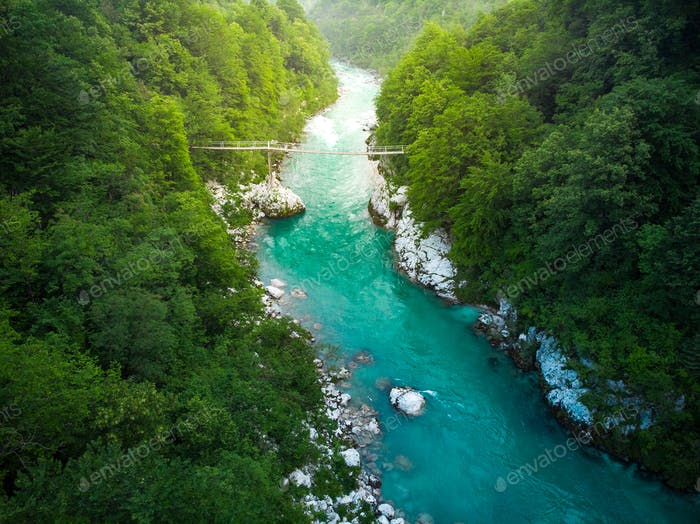Aerial view over SOca river in Triglav Park, Slovenia