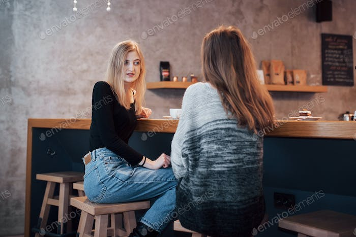 best friends having date in cafe or restaurant. Beautiful girls talking or communicating