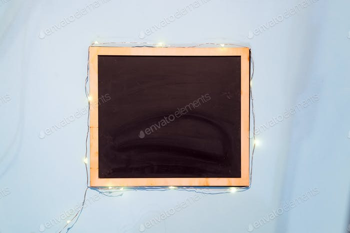 slate chalk board template menu on blue paper background flat lay