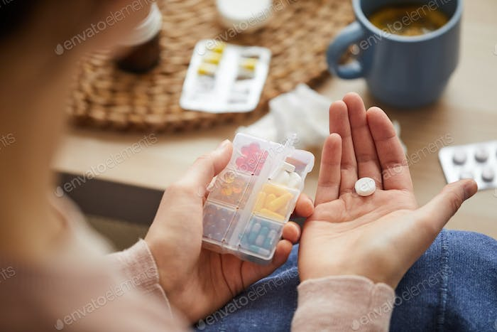 Box with pills for treatment