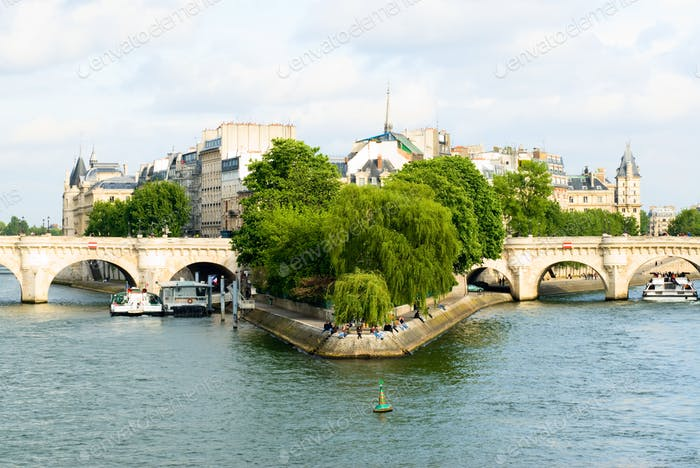 Cite island  and bridge Neuf view. Paris