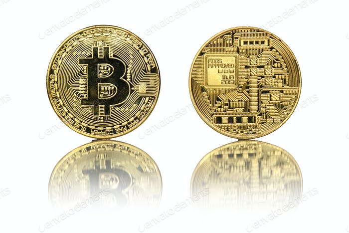 Bitcoin gold coin on white
