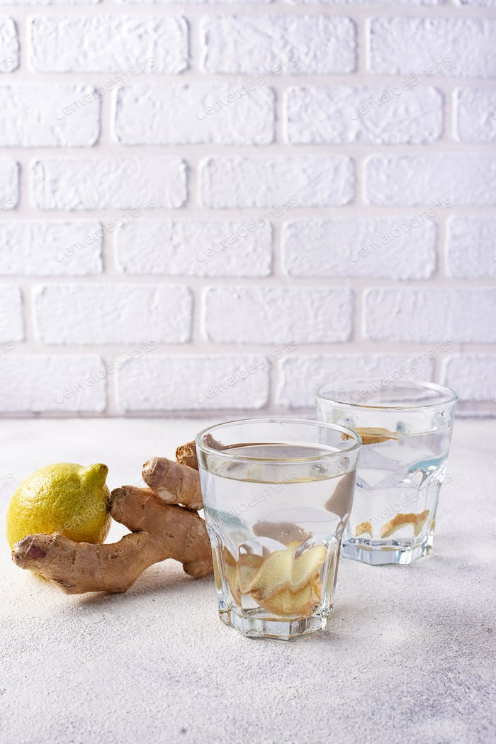 Water with ginger, detox healthy drink