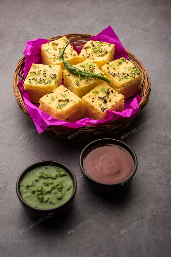 Gujarati Khaman Dhokla or Steamed Gram Flour Puffy Snack Cake