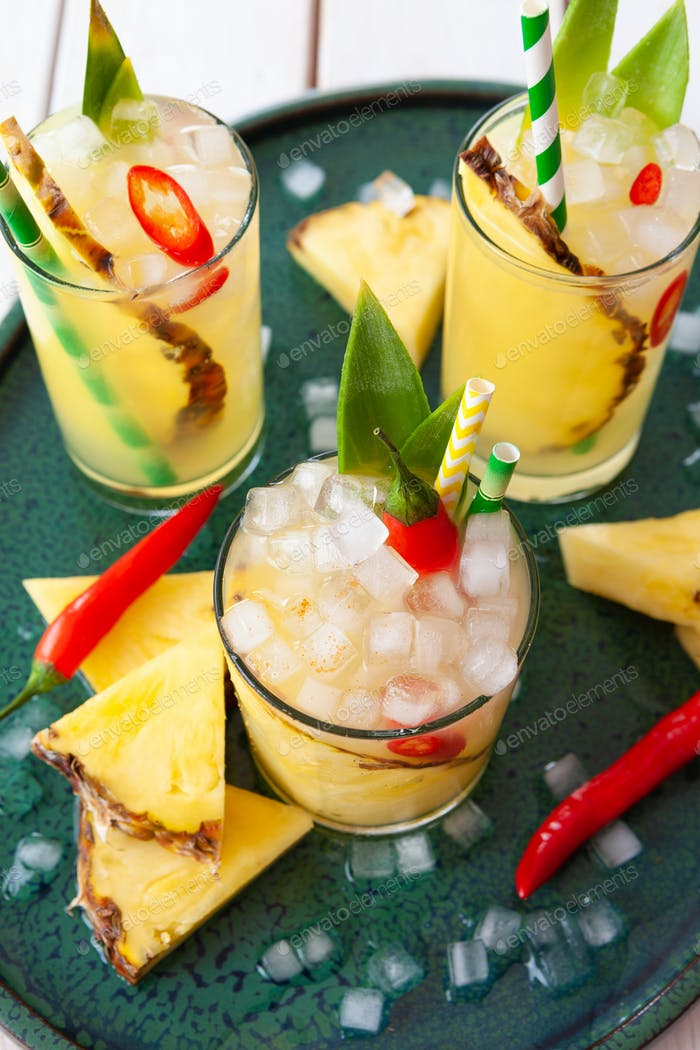 Fruity cocktail with pineapple