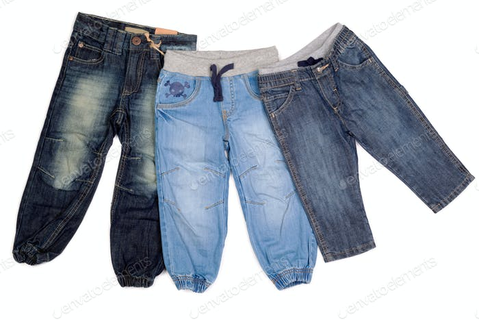 three different children's jeans