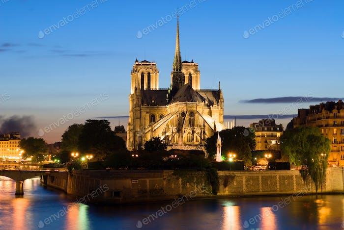 Notre Dame de Paris. Night view.