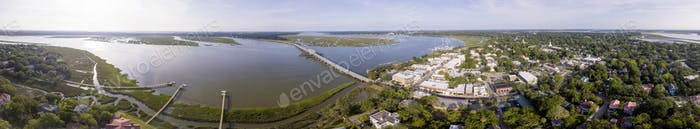 Aerial 360 degree panorama of Beaufort, South Carolina historic