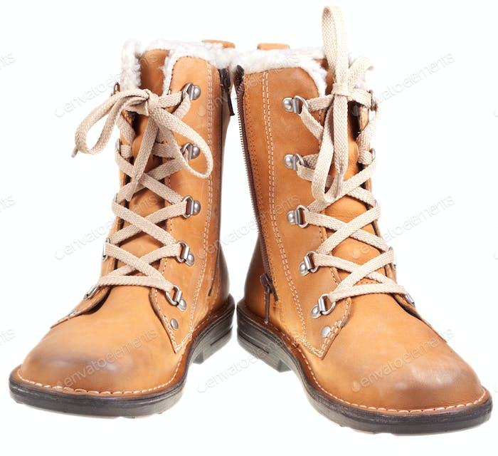 pair of autumn outdoor boots