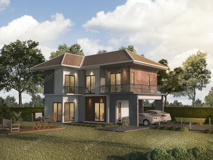 3d rendering colorful and beautiful light brick house