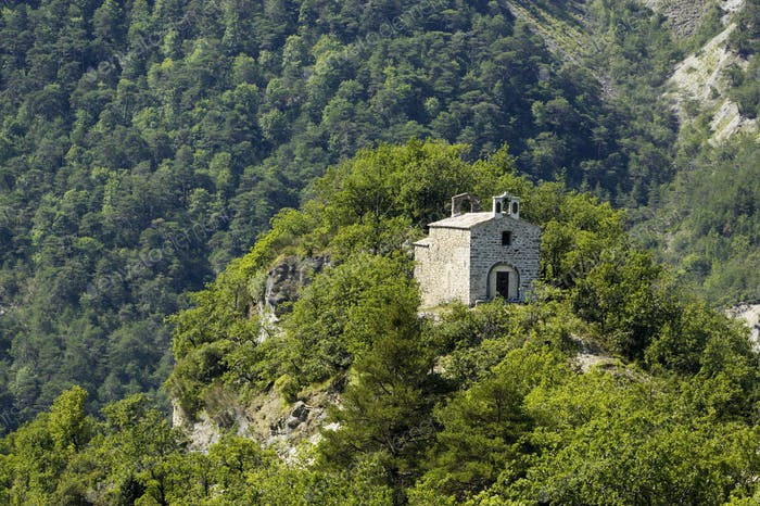 Stone Chapel Perched on a Peak
