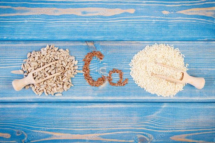 Inhaltsstoffe, die Kalzium und Ballaststoffe enthalten, gesundes Ernährungskonzept