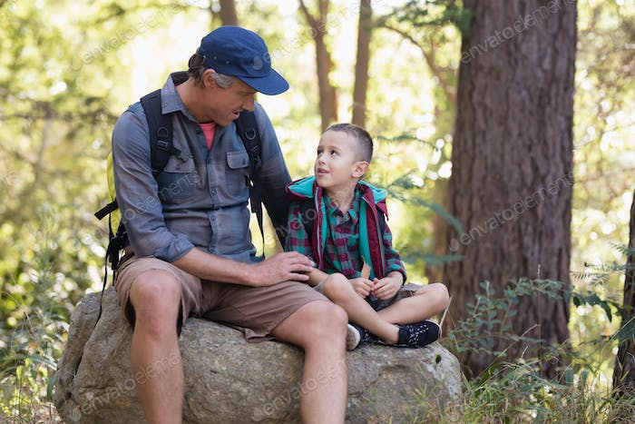 Father and son discussing while sitting on rock