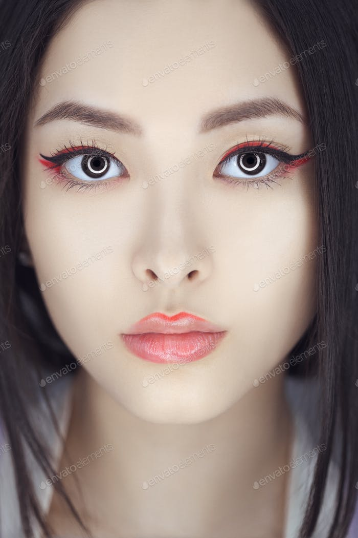 Asian beauty woman with creative make-up. Close-up portrait