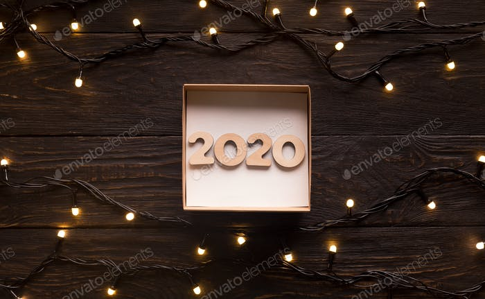 2020 present for new year in small gift box