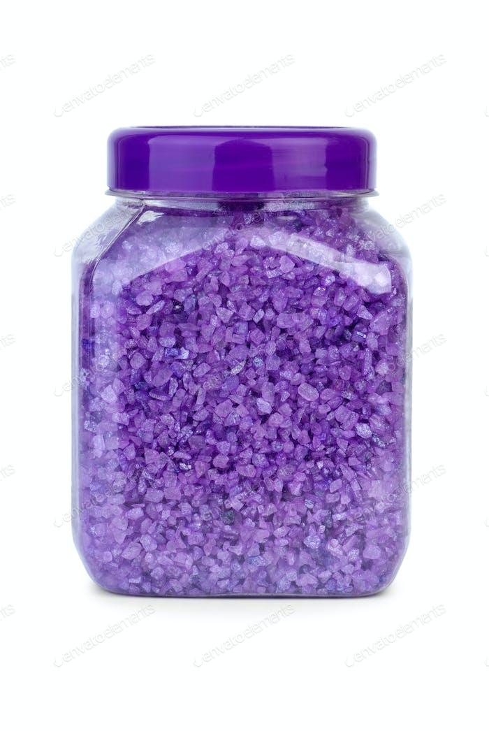 Bath ingredients: Jar filled with lavender sea salt