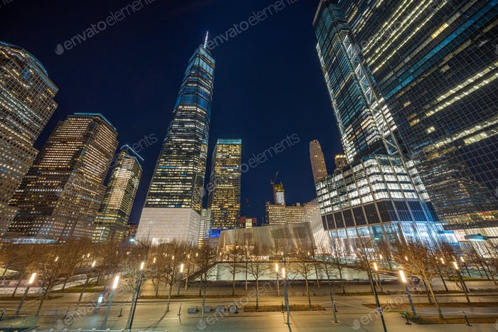New York Cityscape with 911 memorial at twilight time, United States of America, USA