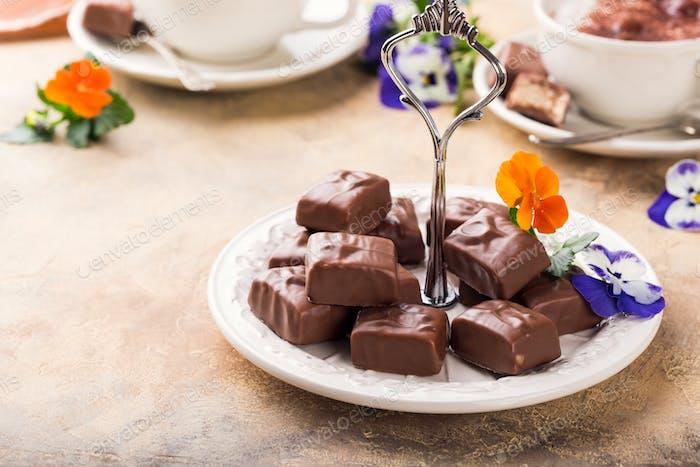Soft nougat chocolate sweets