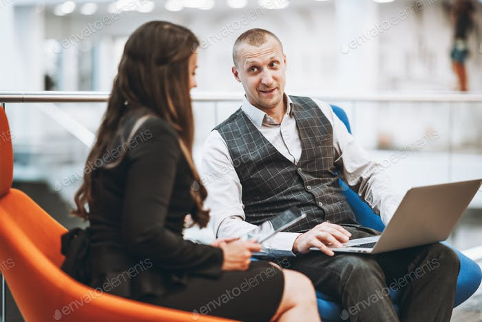 Business conversation of two people