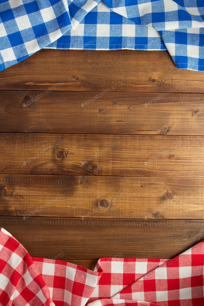 checked cloth napkin at wooden table